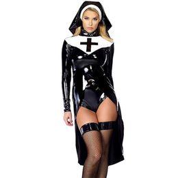 Nero M-XXL Sexy Costume da suora di Halloween per le donne Moda Wetlook in pelle vinile Cosplay Nun Outfit da intimo nero perle fornitori