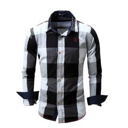 Wholesale Mens Yellow Plaid Shirts - Spring Mens Fashion Men Plaid Shirt Slim Dress Cotton Long Sleeve Men Casual Shirts Plus Size Black M-3XL
