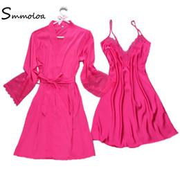 Smmoloa Sexy Women Robe   Gown Sets Two Pieces Sleepwear Women Sleep Set 0018c6a3a