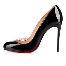 chaussures de carrière pour femmes Promotion NOUVELLES femmes pompes bout rond plate-forme chaussures nouvelle pompe simple nude en cuir verni rouge bas Lady partie de mariage à talons hauts