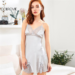 3454e60c2b COLROVIE 2018 Summer Sleeveless Short Nightgowns Silver Bow Satin Scallop  Lace Trim Slips Night Dress Women Sexy Sleepwear