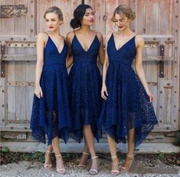 Wholesale Wedding Dresses Bridemaids - 2018 Cheap New Style Royal Blue Lace Bridesmaid Dress V-Neck Backless Tea Length Maid of Honor Plus Size Long Bridemaids Wedding Guest Gowns