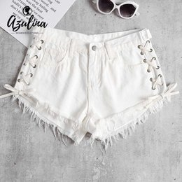 0032e2ba88a 20187 AZULINA Lace Up Denim Shorts Mulheres Verão Denim Branco Curto Calça  Jeans de Cintura Baixa Cortes Hem Elastic Hot Shorts New Ladies Hotpants