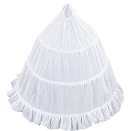 Faldas tutu con volantes de chicas online-Falda de 3 Hoop Flower Girl Crinoline con borde de volantes Stock Dance Party Falda Outwear Falda Tutu White Crinoline Enagua para niñas