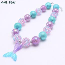 collane per bambini principessa Sconti Princess Girl Kid Chunky Collana Viola + Blu Colore Cartoon Mermaid Tail Pendant Bubblegum Chunky Beads Collana Girl Children Jewelry