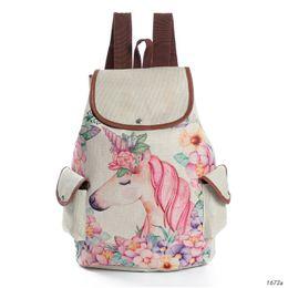 Argentina Diseño fresco Unicornio lindo Impresión Mochilas de lino Niñas adolescentes Dibujos animados Hombro Mochilas escolares Moda femenina Bolsa de viaje Suministro