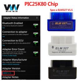 2019 trasporto libero di vci (5pcs / lot) accessori auto V1.5 Super mini elm327 V1.5 lettore di codice versione bluetooth con chip pic25k80 funziona su Windows / Android