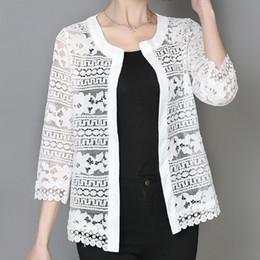Wholesale Ladies Summer Lace Cardigan - 2017 Plus Size Women Clothing 5XL 4XL XXXL Ladies White Lace Blouse Summer Cardigan Coat Black Crochet Sexy Female Blouse Shirt
