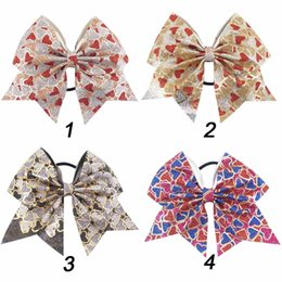 Wholesale Heart Cheer - 8 Pieces Lot 6'' Heart Glitter Cheer Bows With Elastic Hair Band For Kids Girls Handmade Large Bling Hair Bows Hair Accessories