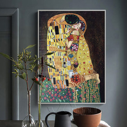 Wholesale Gustav Klimt Oil Hand Paintings - Modern Abstract Hand Painted Gustav Klimt Kiss Painting Picture Canvas Art Replca Wall Pictures For Living Room No Frame XY008