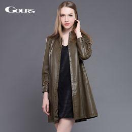 Wholesale Sheepskin Coats For Women - Gours Genuine Leather Coats for Women Winter Fashion Long Sleeve Coat Ladies' Leather Windbreak Sheepskin Jackets Plus Size New