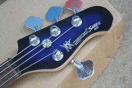 Rayo bajo online-Envío Gratis Guitarra de Alta Calidad Music Man SABER Active Pickup Ernie Ball Sting Ray Azul 4 Cuerdas Bajo Guitarra, Se Puede personalizar