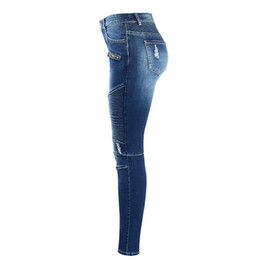 Pantalones vaqueros falsos online-Motocicletas de mujer Faldas Cremalleras Biker Zip Mediados de cintura alta Stretch Denim Skinny Pants Motor Vintage Jeans para mujeres Jeans elásticos