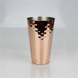copos de frutas de aço inoxidável Desconto Martelado Copper Caneca 350 ml 12 oz Aço Inoxidável Banhado A Moscou Mule Canecas Para O Suco De Frutas Cerveja Copo Licor ZA6744