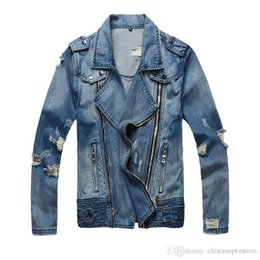 Wholesale Cross Design Gold - Luxury famous brand Winter Spring Men fashion all Denim Jacket slim fit Paris Jeans Coat Bal EPAULET Pleated Main distressed Coat With Hole