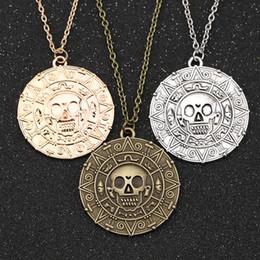 Argentina Collar Pirata del Caribe, Joyería de Moda Auniquestyle Jack Sparrow Azteca Moneda Medallón Vintage Oro Bronce Colgante de Plata cheap caribbean necklaces Suministro