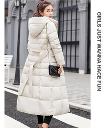 Manteau d'hiver extra-long femme en Ligne-Manteau en duvet de canard blanc à 90% pour femmes, veste extra-longue en duvet d'hiver épais et chaud, à capuchon, longue parka à capuchon