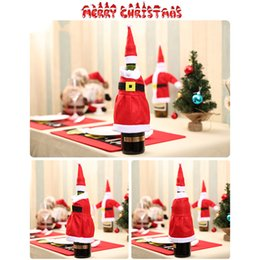 Wholesale cloth gift wrap - Christmas Gift Wraps Santa Claus Knitting Cloth Ornaments Xmas Wine Bottle Cover Bag Dinner Party Table Decor