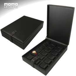 Wholesale fiber store - Attractive Leather Watch Box Packaging 18 Watches Store Display Case Carbon Fiber PU Watch box showcase