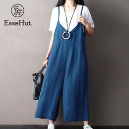 e574576029fe EaseHut Women Spaghetti Straps Loose Wide Leg Jumpsuit Dungaree Solid  Cotton Linen Long Pants Rompers Bib Overalls Plus Size 5XL