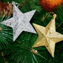 f0df3a2778bf Christmas Ornaments Kindergarten Star Pendant Silver Stereoscopic Stars  10cm Gold Red Adornment Xmas Party Decorations For Home on sale