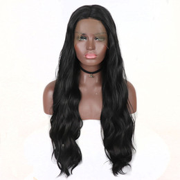 glueless wigs high density Promo Codes - Synthetic Lace Wig Long Natural Wave Black High Temperature Fiber 180 Density Synthetic Lace Front Wig Glueless Middle Part For Black Women