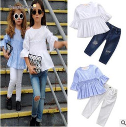Wholesale Children White Ruffle Shirt - Best Girlfriend Outfits 2018 Fashion Children Girls Clothes Striped Set Half Sleeve Ruffle T-shirt Tops+Jeans Pants 2PCS Outfits Clothing