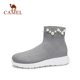 2d307dd91ca2 CAMEL Winter Women Ankle Stock Boots For Women Fashion Casual Solid Stretch  Fabric Low Flat Shoes String Bead Slip On Shoes