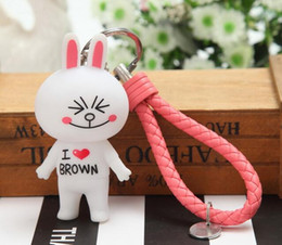 Wholesale Rabbits Puppies - 2018 new key chain bag pendant cute rabbit puppy toy doll leather rope key chain car ornaments