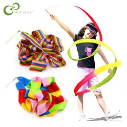 001319837 1 Peça 4 M Rainbow Color Dança Ginásio Ginástica Rítmica Arte Ginástica  Ballet Streamer Twirling Rod GYH fitas de ginástica rítmica promoção