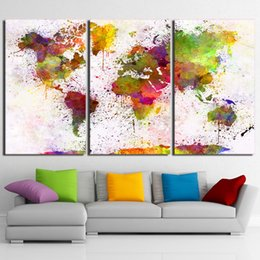 Wholesale wall prints framed - Abstract Pictures 3 Pieces Color World Map Paintings Wall Art Modular Posters Framework Home Decor HD Prints Canvas Living Room