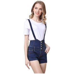 Wholesale Jeans Strap Shorts - Summer Suspender shorts Denim Shorts Women Jeans Suspenders Button Fashion Designer Pockets Strap Stretch Skinny Mujer