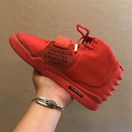 Wholesale Sneakers Bag - Air 2 SP NRG Red October Kanye West Basketball Shoes II OCT RED Men With Dust Bag And Box Athletics Sneakers High Quality 7-13