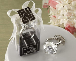 Wholesale Diamond Wedding Favors Wholesale - Sparkling Diamond Shaped Engagement Key Ring KeyChain Wedding Favors Bridal Shower Favor Hen Night Christmas Party Gift banquet z48