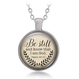 Wholesale handmade jewelry sale - Hot Sale Bible Verse Necklace 'Be Still and Know That I am God' Pendant Psalm 46:10 Quote Handmade Necklaces Jewelry 162630