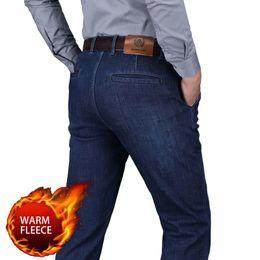 af78d29640c7e1 Herbst Winter Mode Fleece Jeans Männer Smart Casual Denim Hosen Warme Hose  Gerade Lose Baggy Dicke Jeans Mann Kleidung