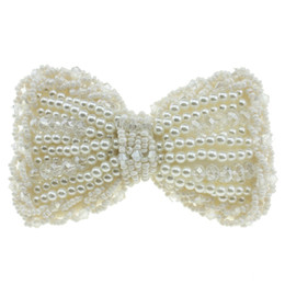 "pink hair bow pearls Coupons - 3.5"" White Pink Boutique Rhinestone Pearl Crystal Hair Bows DIY Accessories for Girl Headband Clothing Shoes Brooch 12pcs lot"