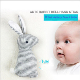 Wholesale Baby Toys Sound - Baby Rattle Toys Animal Cute Rabbit Hand Bells Plush Toys Baby Gift With BB Sound Playing Gift Christmas Plush Doll Kids Rattle Toy