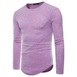 Camisa de malha com costelas on-line-Outono novos homens europeus e americanos em torno do pescoço T-shirt tamanho grande manga longa dos homens de malha T-shirt -38