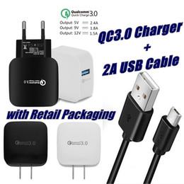 2019 cargos domiciliarios QC 3.0 Cargador de pared USB de carga rápida + 3FT Cable de datos USB 2A Carga rápida 5V 2.4A Adaptador de casa de viaje EU EU Plug para Samsung Huawei Phone cargos domiciliarios baratos