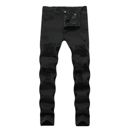 Мужские белые брюки онлайн-2017 Mens Jeans White Black Ripped Biker Jeans With Holes Skinny Slim Fit Destroyed Distressed Denim Trousers For Male Pants