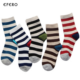 Wholesale Long Striped Socks For Men - Wholesale- 1Pair Fashion Men's Long Striped Socks For Men Compression Socks Calcetines Business Dress Socks meias masculinas Chaussette