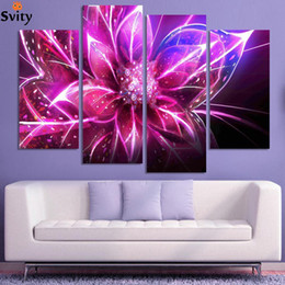 Wholesale Cheap Abstract Paintings - 4 Piece Free Shipping Cheap abstract Modern Wall Painting purple pink flower Home Decorative Art Picture Paint on Canvas Prints
