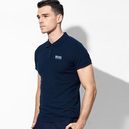 top polo shirt brands Coupons - 2019 High Quality Tops&Tees Solid color Men Polo bos Embroidery Polo shirt Casual Polo Shirts men short sleeve brand t shirts Men summer