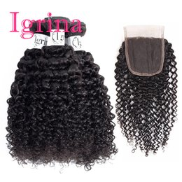 Игрина сырье Индийский вьющиеся девственные волосы 3 пучки с 4x4 кружева закрытия необработанные хорошие дешевые переплетения Реми мокрые и волнистые наращивание человеческих волос от