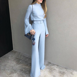 escritório casual calças mulheres Desconto 2018 Outono Mulheres Moda Elegante Escritório Workwear Casual Calças Set Alta Pescoço Sino Manga Perna Larga Terno Conjuntos Com Cinto