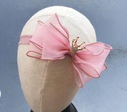 Baby Kinder Garn Krone Bowknot Stirnband Kinder Haar Stöcke Spange pricessess Haarbänder rosa grau lila 3 Party Haarschmuck von Fabrikanten