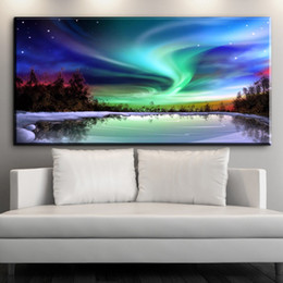 Wholesale Canvas Scenic Paintings - The Sky aurora beauty scenic canvas art oil painting for bedroom and living room No framed