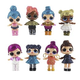 Wholesale Action Color - New 8Pcs lot LoL Doll Unpacking High-quality Dolls Baby Color Shiny Gold LoL Dolls Action Figure Toys Girl Gift Kids Present