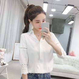 b798a6bcdb 2018 Otoño Nuevas Mujeres Camisa de Oficina Sólida Elegante con Cuello En V  Ahueca Hacia Fuera Blusas de Gasa Linterna Manga Camisas Sueltas